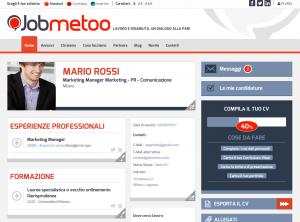 Pagina profilo personale di  Jobmetoo